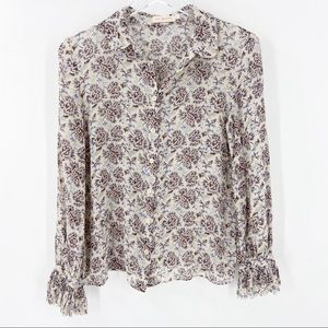 TORY BURCH Silk Floral Blouse Button Up Small